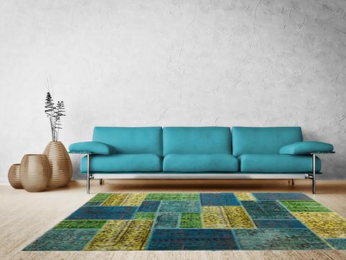 Contemporary Living Room: Patchwork Carpets