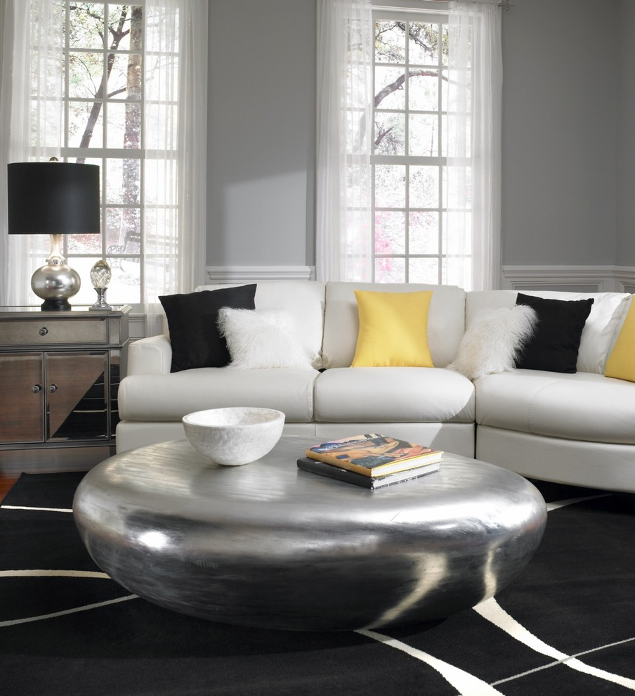 Trendy living room photo in Raleigh with gray walls