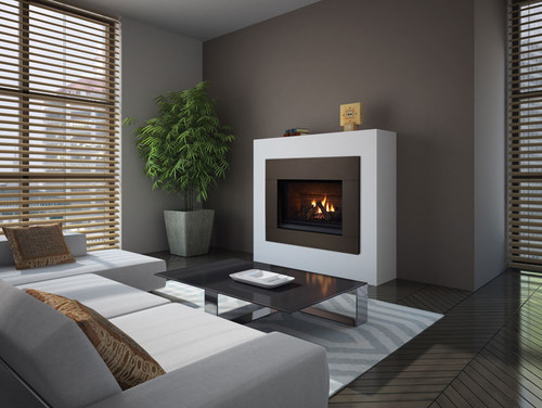 What is the fireplace wall made of?