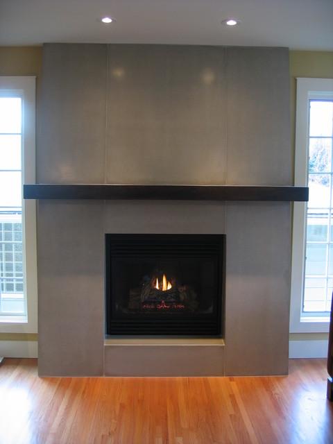 Concrete Fireplace Contemporary Living Room