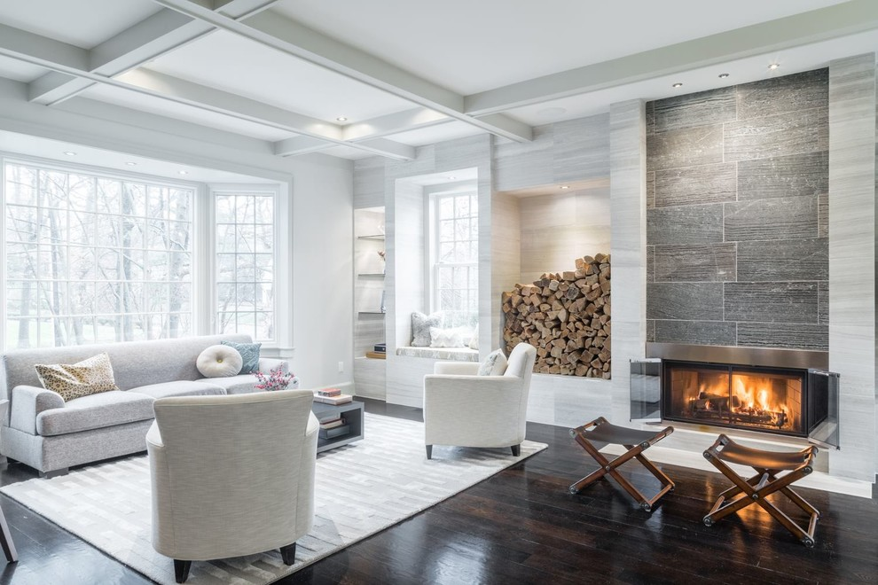 Large trendy open concept and formal dark wood floor and brown floor living room photo in New York with a ribbon fireplace, white walls, a metal fireplace and no tv