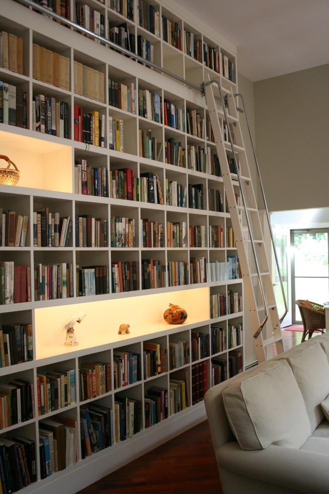 Living room library - contemporary living room library idea in Burlington