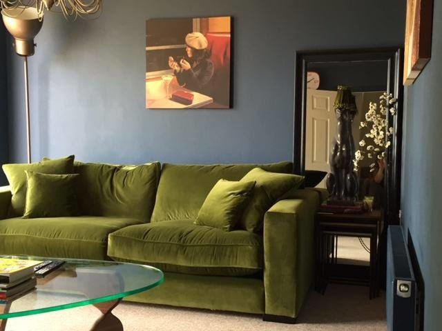 Stourhead Sofa In Olive Green Velvet. Contemporary Living Room