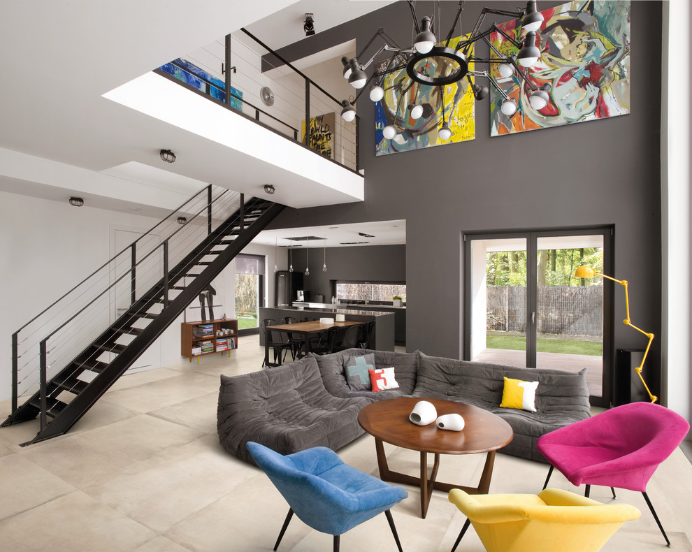 Inspiration for a contemporary living room remodel in Dublin