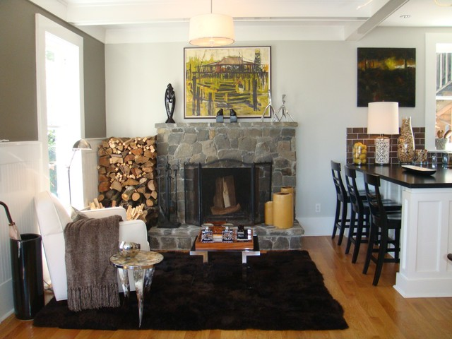 Warm up your home for winter - Contemporary fireplace insert for a warm living room ...