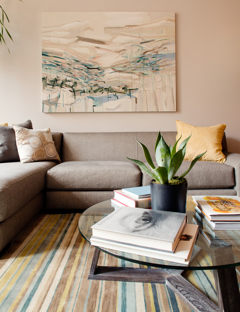 Inspiration for a contemporary living room remodel in New York with beige walls