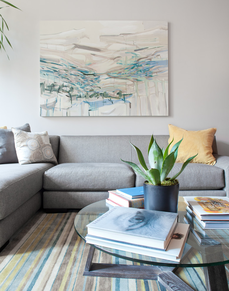 Trendy living room photo in New York with white walls
