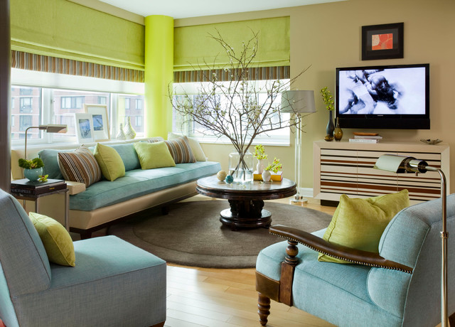 Contemporary Living Room by Willey Design LLC 9 Fashionably Cool Color Palettes