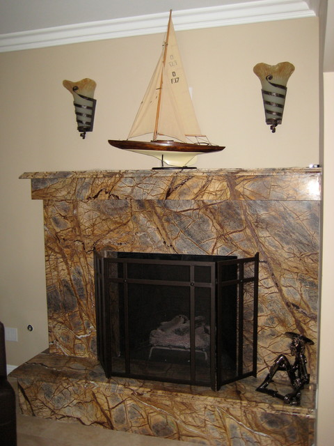 Contemporary Marble Fireplace contemporary-living-room