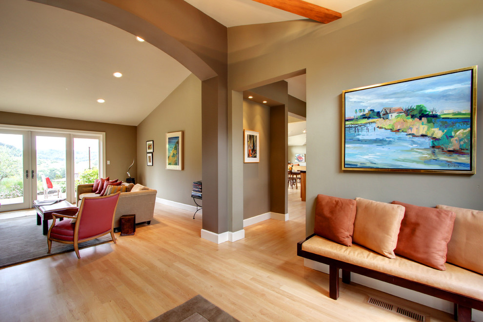Inspiration for a transitional living room remodel in San Francisco with brown walls