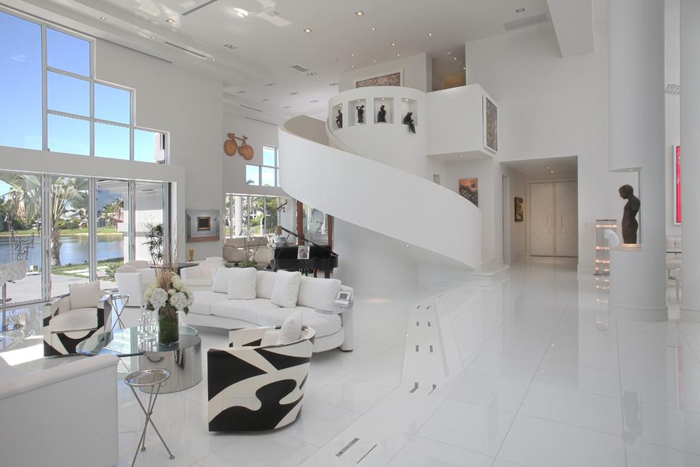 Ispirazione per un soggiorno contemporaneo aperto con sala formale e pareti bianche