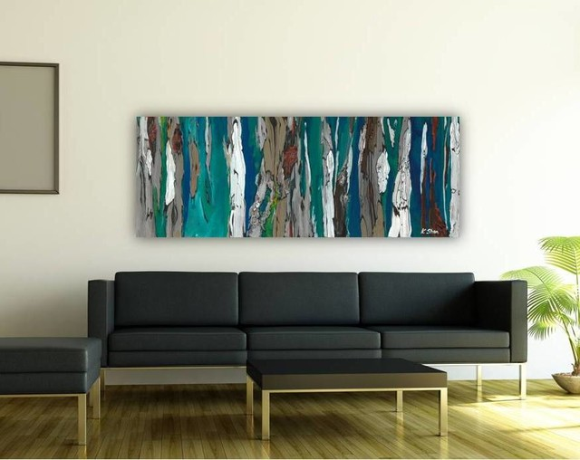 contemporary modern artwork in living room dining room entry blue dark teal contemporary. Black Bedroom Furniture Sets. Home Design Ideas