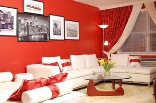 Entre ideas deco y m s deco en rojo for Diferencia entre halla y living room