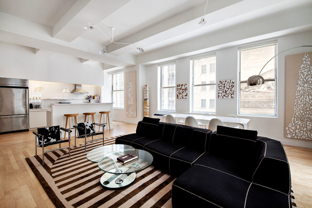 Contemporary NYC Loft Style Open Living Room Kitchen Design Transformation  Contemporary Living Room Part 86