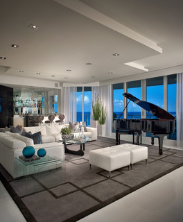 Contemporary Private Residence Palm Beach County - Contemporary - Living Room - Miami - by Interiors by Steven G