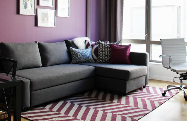 Contemporary Purple Blue Living Room - Contemporary - Living ...