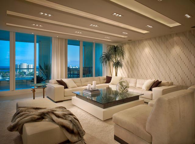 Contemporary residence boca raton florida contemporary for W living room miami