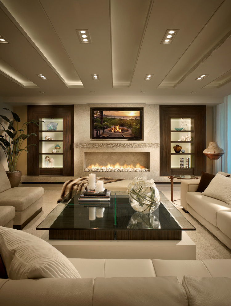 Example of a trendy white floor living room design in Miami with a ribbon fireplace and a wall-mounted tv