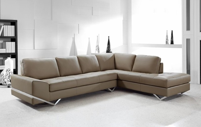 Beau Contemporary Sectional Sofa In Latte Leather Modern Living Room