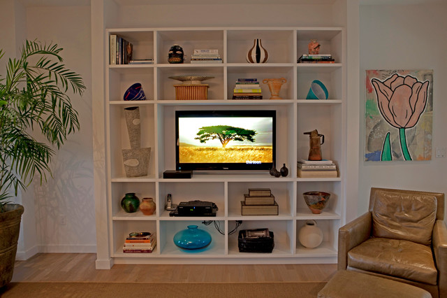 Contemporary shelves modern living room new york Modern shelves for living room