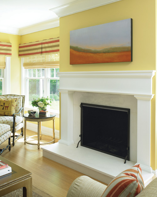 Contemporary Shingle Style Fireplace contemporary living room