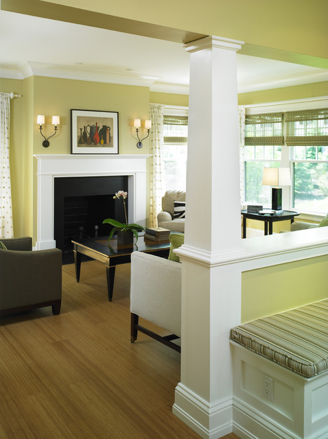 Contemporary Shingle Style Living Room traditional-living-room