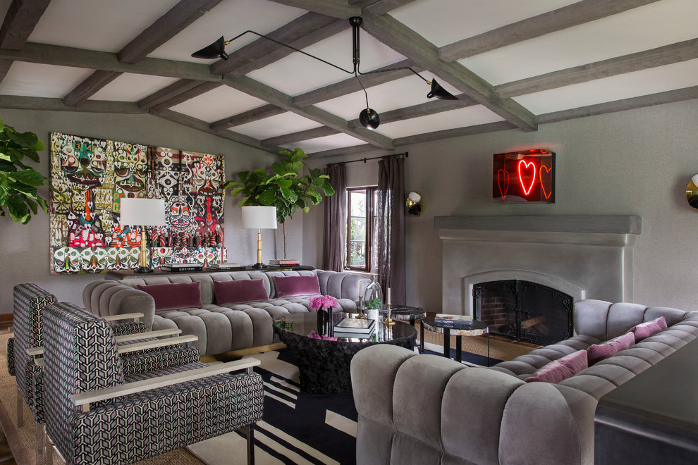 Living room - eclectic formal living room idea in Los Angeles with gray walls, a standard fireplace and no tv