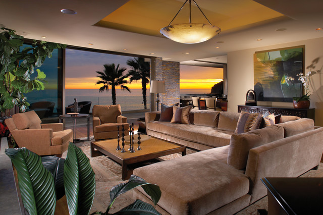 Contemporary Style in Laguna Beach, California tropical-living-room