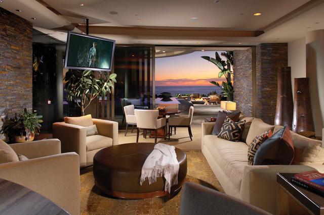 Contemporary Style In Laguna Beach Californiatropical Living Room Orange County