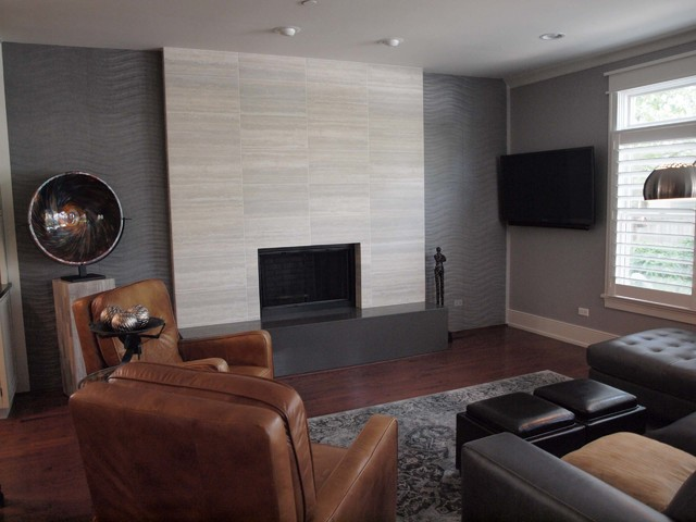 Contemporary Tile Fireplacecontemporary Living Room Chicago