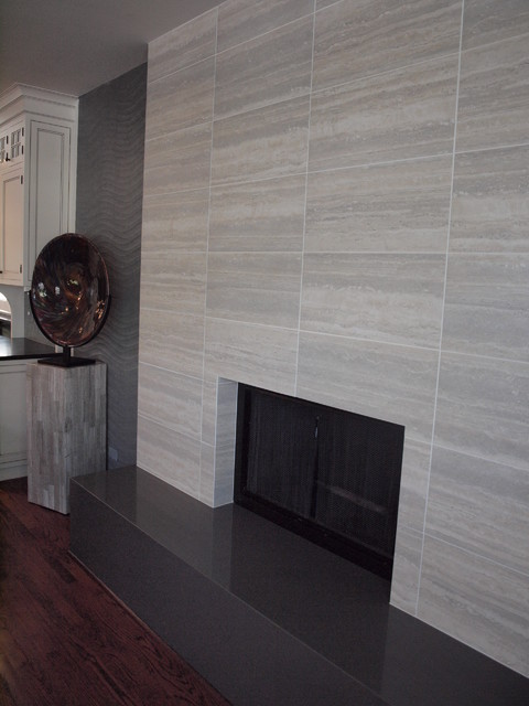 Tiles Design For Living Room Wall: Contemporary Tile Fireplace
