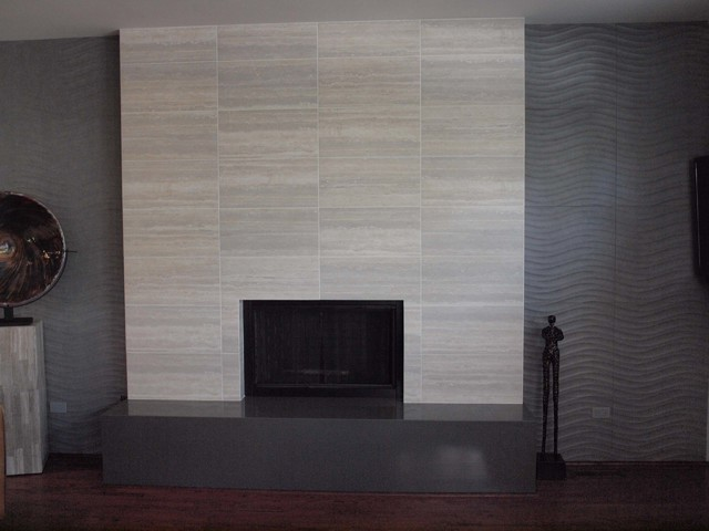 Contemporary Tile Fireplace Living Room