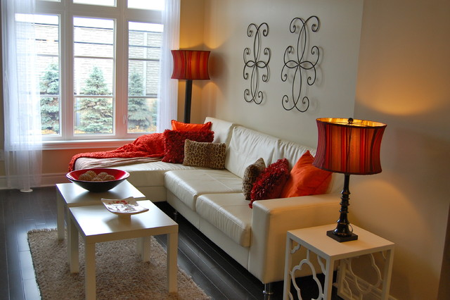 Contemporary Townhouse Staged Red Accent - Traditional ...