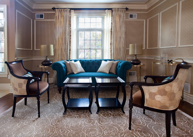 Essex Fells Home traditional-living-room