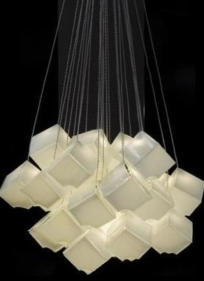 CONTEMPORARY WHITE GLASS CHANDELIER, LIGHT CUBES ART GLASS CHANDELIER By  GALILEE   Modern   Living Room   Miami   By Galilee Lighting
