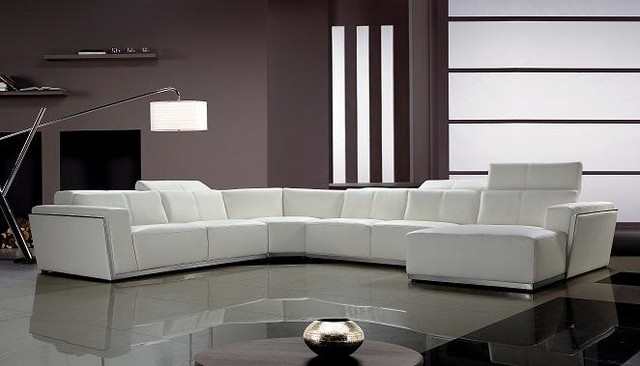 Contemporary White Leather Sectional Sofa With Retractable