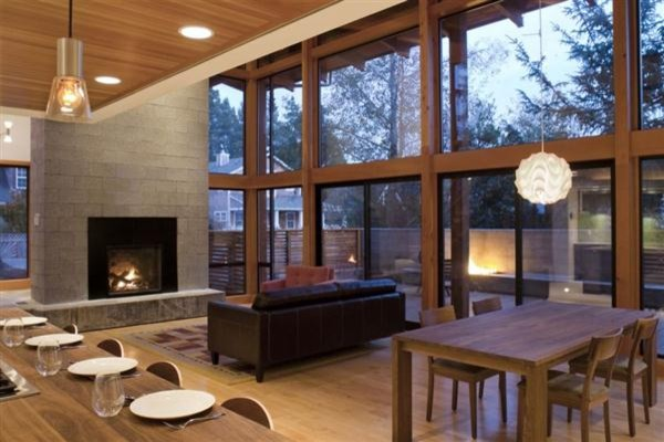 Contemporary Wooden House Design Called Mulligan Residence Modern Living Room