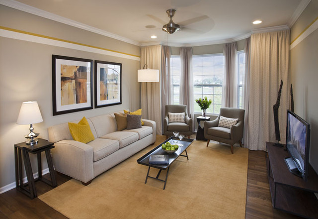 Contemporary yellow and gray living room - Houzz wohnzimmer ...