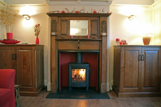 Contura 51l wood burning stove with reclaimed oak mantel for Living room ideas with wood burning stoves