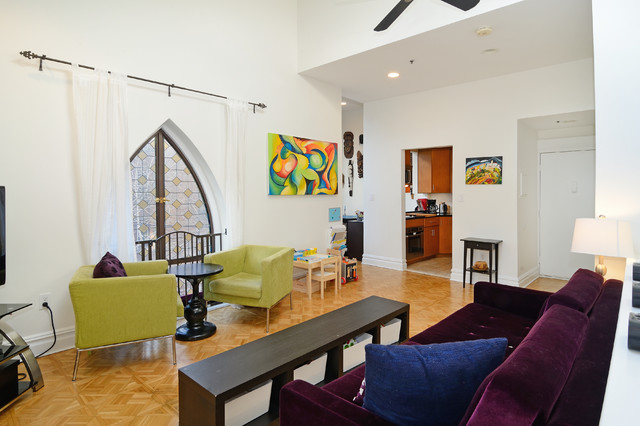 Converted Church Contemporary Living Room New York By Hudson Place Re