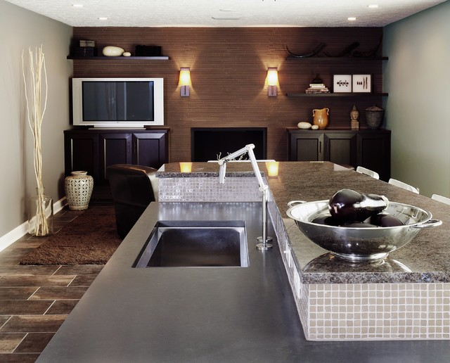 Cool Brown Contemporary Kitchen Living Area Contemporary Living Room In