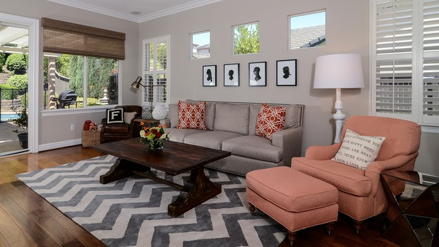 Cool Calm + Curated transitional-living-room