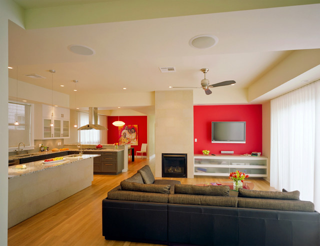 Trendy Living Room Photo In Austin With Red Walls And A Wall Mounted Tv Part 46