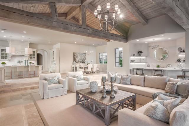 Cooler Color Palette in a Luxury Living Room Design - Rustic ...