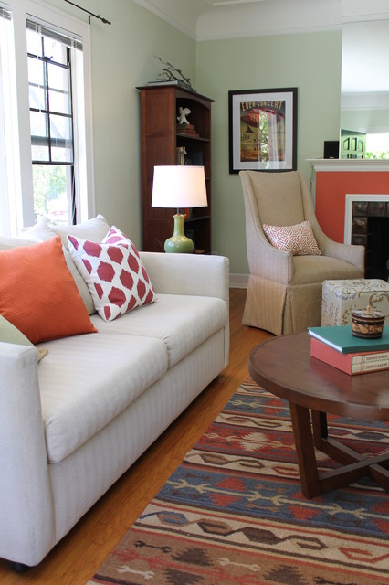 Coral Fireplace, Kilim Rug and Ikat Pillow with Wingback Chair - Traditional - Living Room - los ...