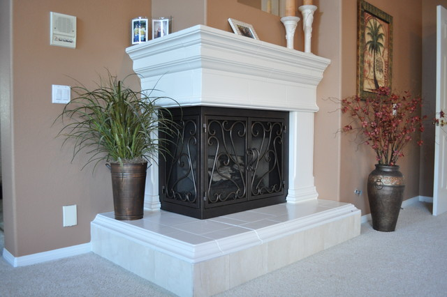 Ams fireplace doors remodel ideas traditional living for L shaped living room with fireplace