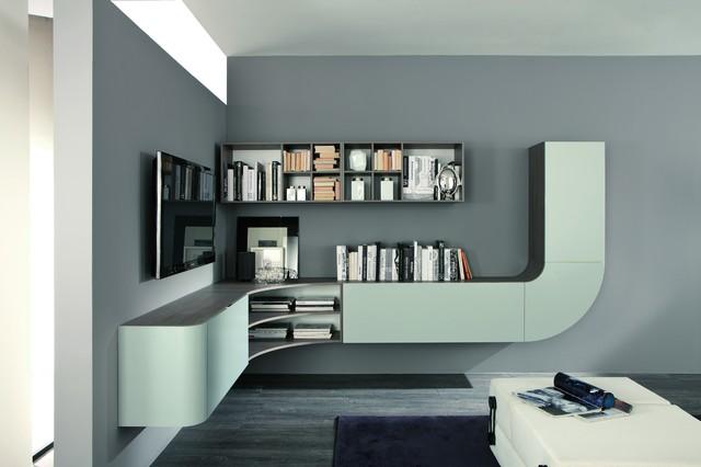 Corner wall unit velvet millennium 947 by artigian mobili for Mobili living moderni