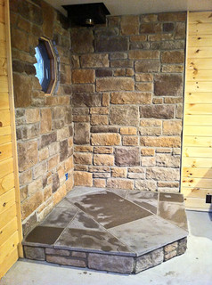 Corner Wood Stove Stone Masonry Traditional Living