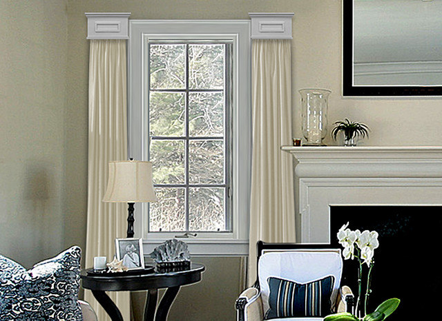 Cornice window treatments for Contemporary window treatments for living room
