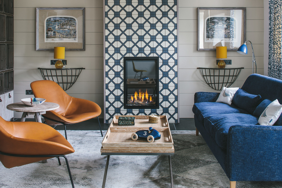 Example of a small 1960s formal living room design in Other with gray walls, a tile fireplace and no tv